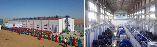 Three pumping stations of the Zahmet-Turkmengala machine channel, Mary Velayat (Turkmenistan)
